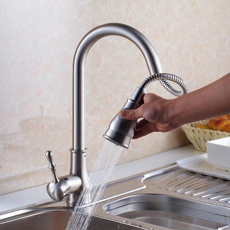 Luxury Gold/Brushed Nickel Kitchen Sink Water Tap Brass Sink ...