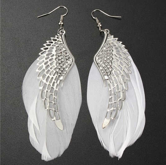 Superb Angel Metal Wing Earrings Bohemian Handmade Exquisite Ornaments Vintage Feather Long Drop Earrings