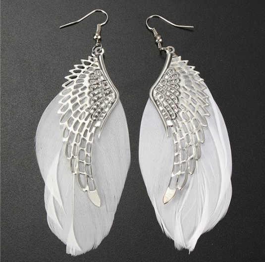 Superbe ange métal aile boucles d'oreilles bohème fait à la main exquis ornements Vintage plume longue boucles d'oreilles