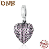 BAMOER Authentic 925 Sterling Silver Pink Heart Love Forever Clear CZ Charm Fit Bracelets Jewelry Accessories