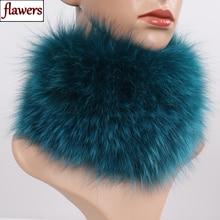 Натуральным лисьим мехом шарф меховые повязки на голову Для женщин зима кольцо Лисий Мех Шарфы для Роскошные теплые Хорошие эластичные натуральный мех глушители