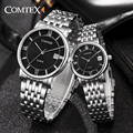 COMTEX 2017 Quality Couple Watches Men Women Watches Lovers' Complete Calendar Watches Ladies Quartz Wristwatch Good