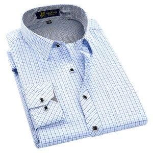 Image 2 - Klassieke Stijl Plaid Shirt Voor Mannelijke Zijde En Katoen Lange Mouwen Slim Fit Strijkvrij Causale Mannen shirts