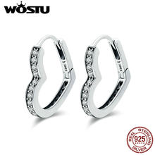WOSTU High Quality 100% 925 Sterling Silver Romantic Heart Clear CZ Stud Earrings for Women S925 Silver Jewelry Gift FIE290(China)