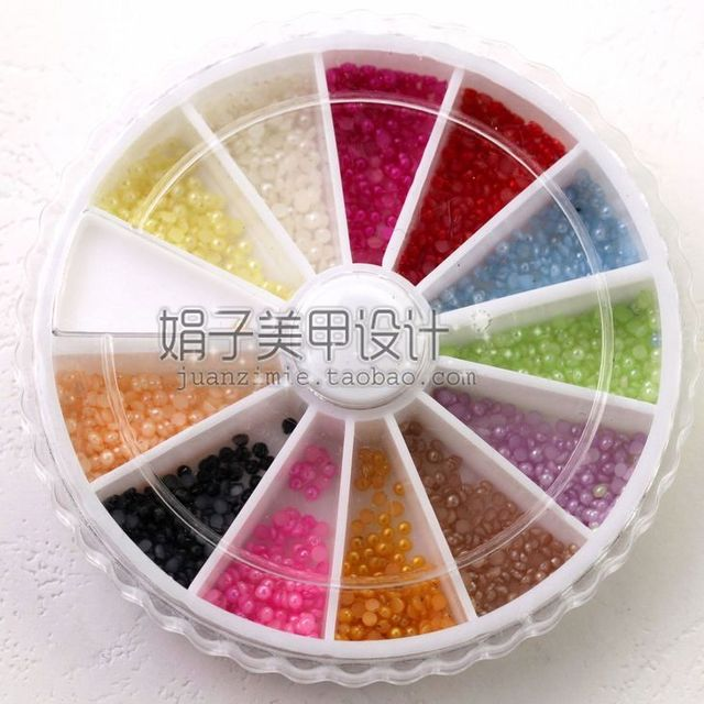 1.5mm 1200 nail art pearl diamond box revitalizing 12 jelly color diy finger zp06