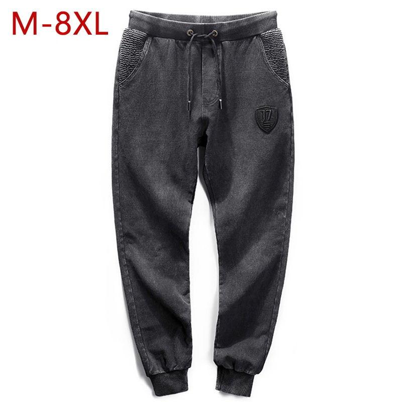 Plus Size 8XL   Jeans   Men Black Casual Cotton Male Stretch Denim Pants Elastic Waist Mens Designer Biker   Jeans   Brand Clothing YW32
