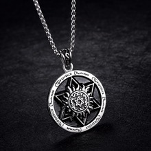 40mm Retro Star of David Medallion Pendants Necklace in Stainless Steel with 22 Chain Silver font