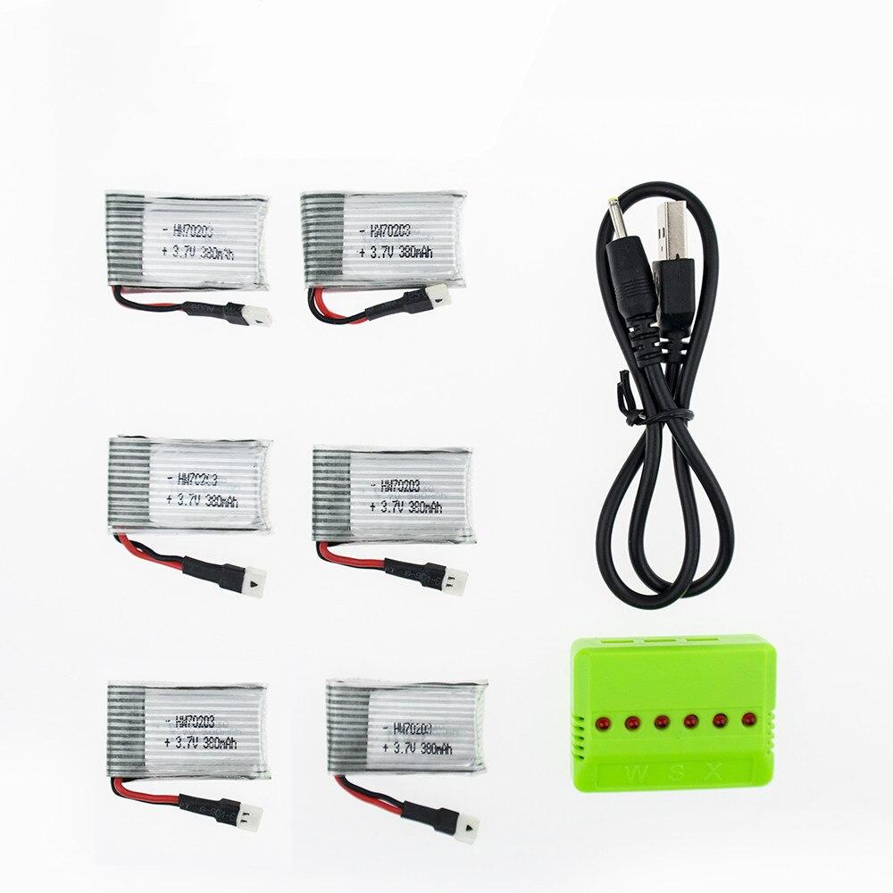 hotsale 6pcs 3.7V 380mAh LiPo Battery With 6in1 USB Charger For Eachine E33 E33C E33 U816A V252 JJRC H33 H6C Hubsan H107 Battery inotec e33