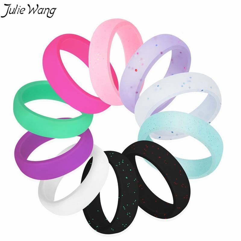JulieWang 10pcs Whole Set Sale Band Silicone Ring Women Rubber Wedding Work Safe Comfort ...