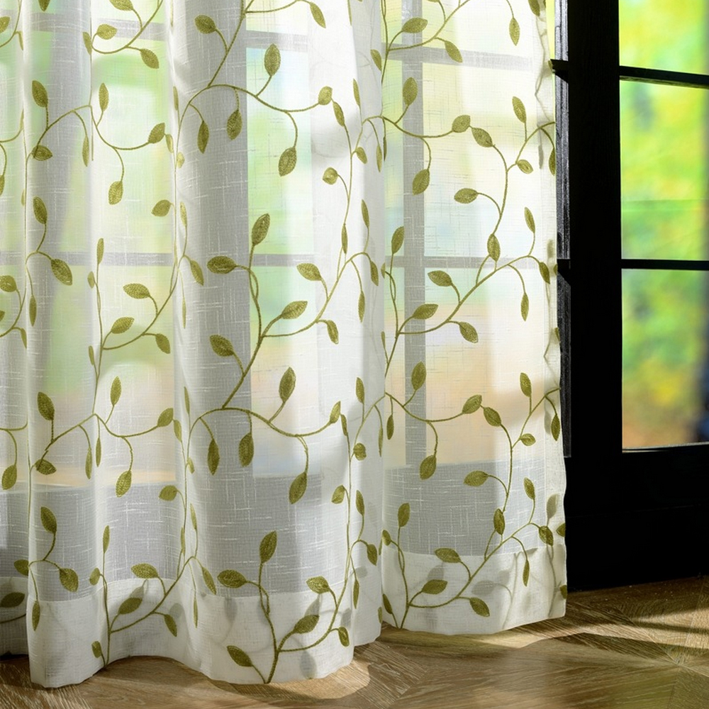 Classic linen embroidery sheer curtain fabric with high