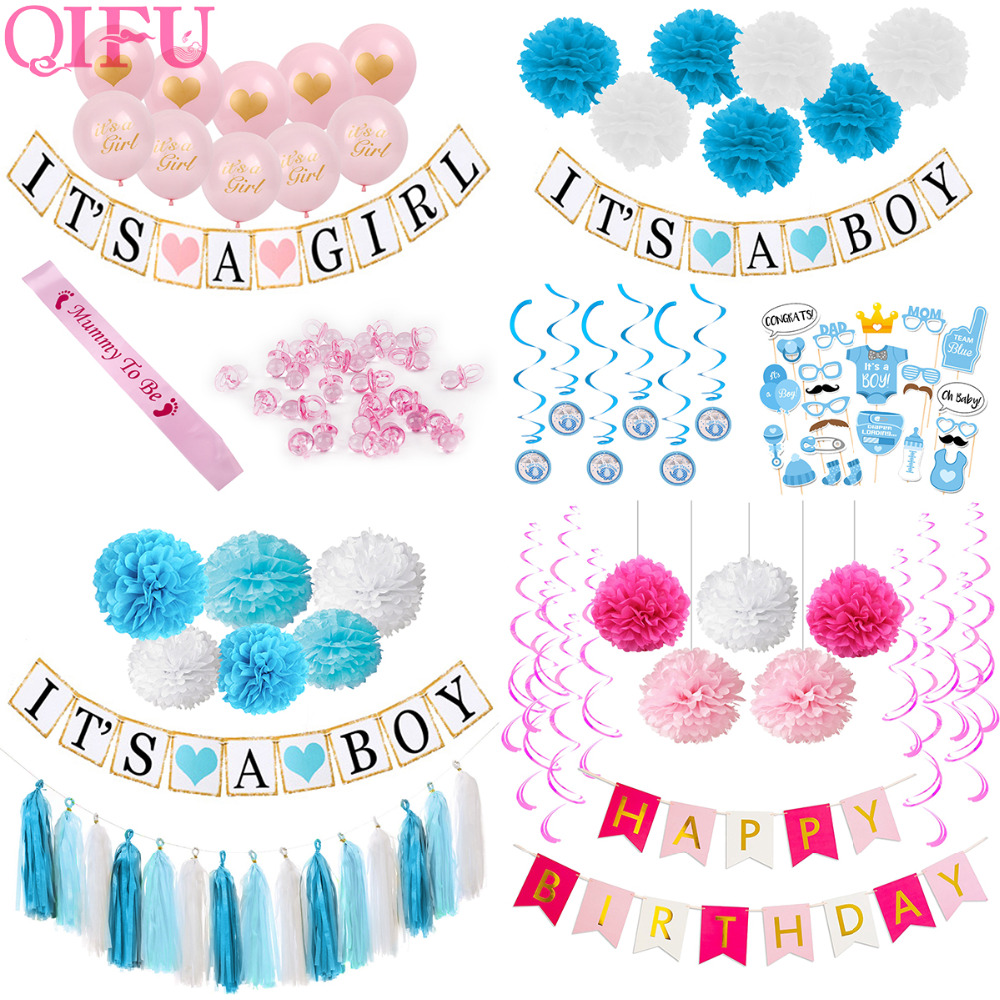 QIFU Baby Shower Party Decoration Its A Boy Girl Tissue Paper Pom Poms Blue Pink 1st Birthday Party Balloons kids birthday favor