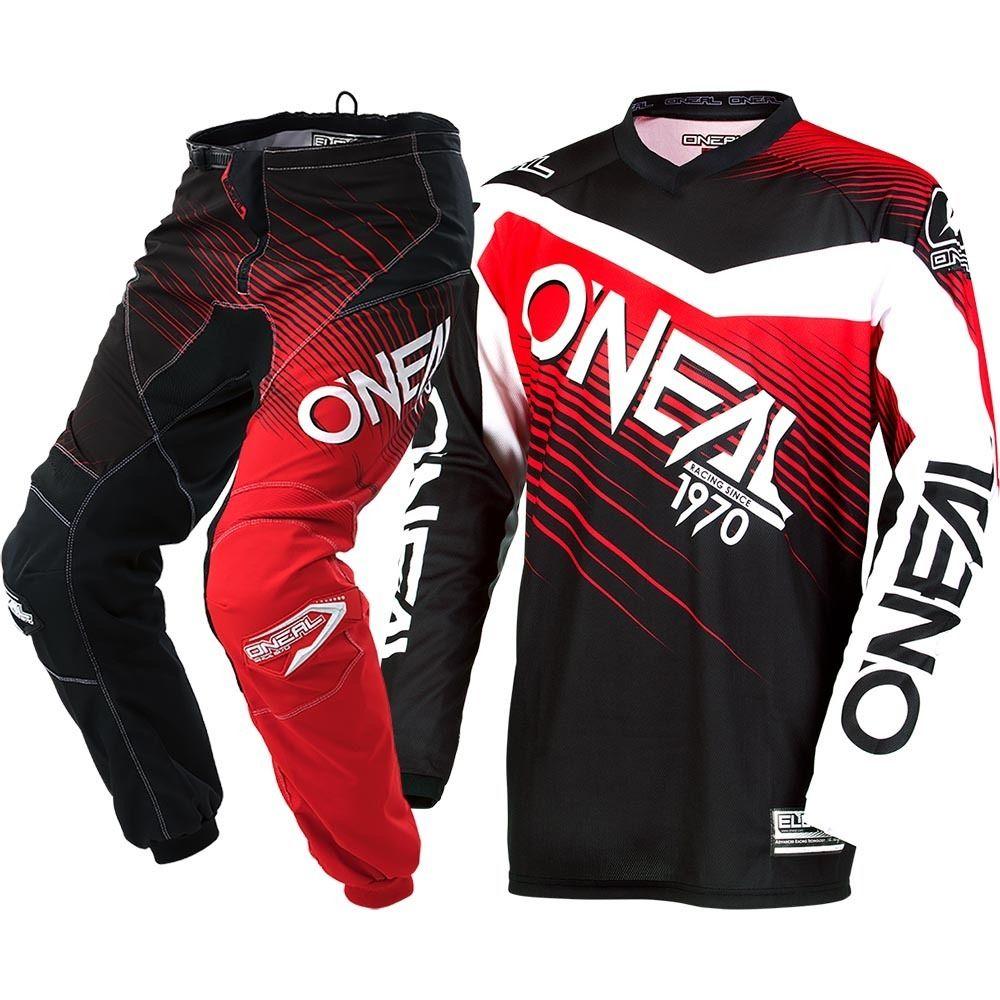 Elemento Camisa MX Calças Dirt Bike Off-road Engrenagem Motocross off-road Corrida Terno Preto Vermelho