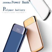 20000mah Power Bank External Battery quick charge Dual USB LED Powerbank Portable Mobile phone Charger for Xiaomi iPhone X