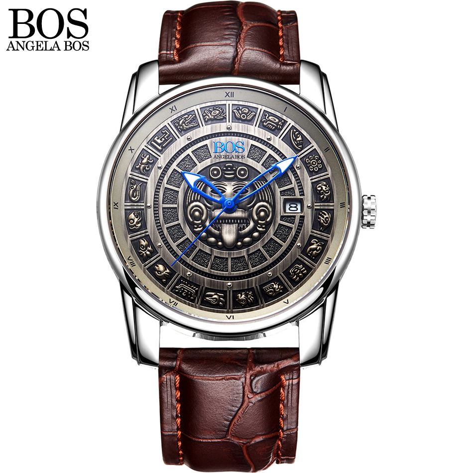 ANGELA BOS Retro 3D Mayan Calendar Dial Stainless Steel Automatic Mechanical Watch Men Luminous Mens Watches Top Brand Luxury tevise men watch black stainless steel automatic mechanical men s watch luminous waterproof watch rotate dial mens wristwatches