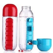 600ml Sports Plastic Water Bottle Combine Daily Pill Boxes Organizer Drinking Bottles Leak-Proof Bottle Tumbler Outdoor BPA Free