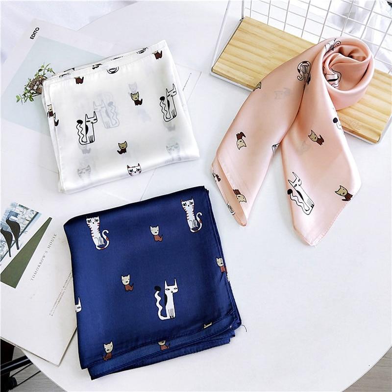14Designs Cat Print Bandana Square Scarf For Ladies Fashion Accessoires Silk-like Hair Handkerchief Women's Bag Scarf 70cm
