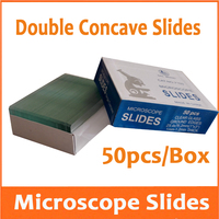 50pcs Reusable Laboratory Educational Double Concave Microscope Blank Glass Slides for Medical School 25.4x76.2mm 1 x 3