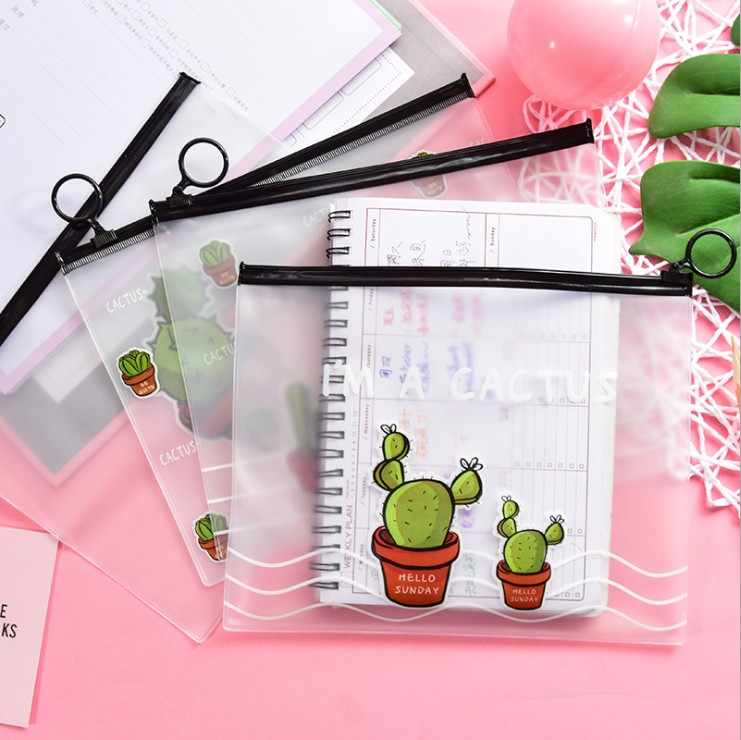 Cactus PVC Waterproof Pencil Cases Transparent Stationery A5 File Folder Storage Office School Supplies Pencil Bags for Girls