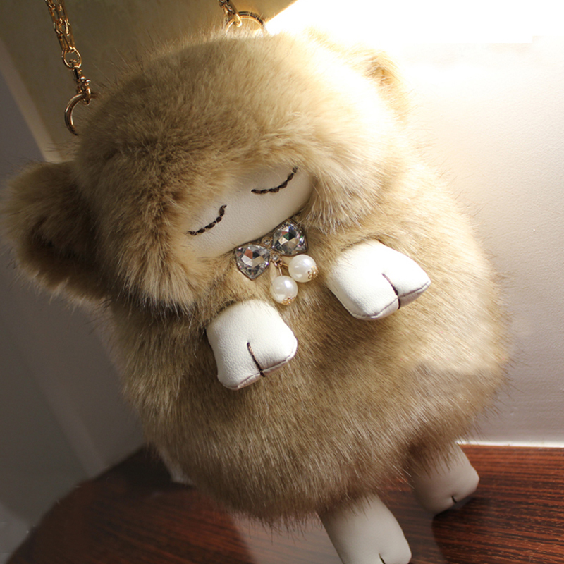 ФОТО New Arrivals Lady Girl Pretty Cute Lovely Plush Fur Hairy Handbag Shoulder Bag  chain shoulder cross Women Large Cute Composite