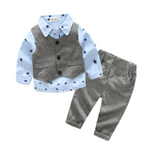 Cuikevin 2018 New Gentleman kids Clothes Long Sleeve Shirt Vest Pants And Tie Party Baby Boys