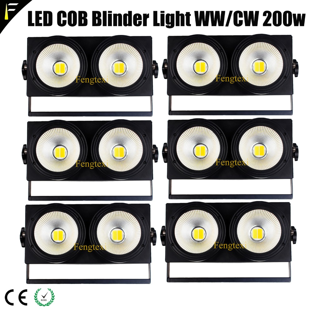 Six 6 Unit LED COB Audience Blinder 200w 60 Degree Beam Light Blinding Stage Light Dmx512 3200k 6500K 1-100% Dimming Light Par