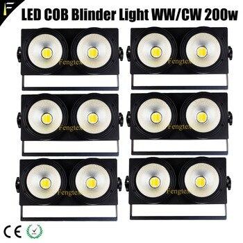 Sześć 6 jednostek LED COB publiczność Blinder 200w 60 stopni światło wiązki oślepiające światło sceniczne Dmx512 3200k 6500K 1-100% przyciemnianie światła Par
