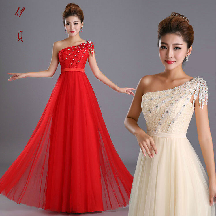 Fashion 2015 Red Cream One Shoulder Lace Tulle Long Evening Dress
