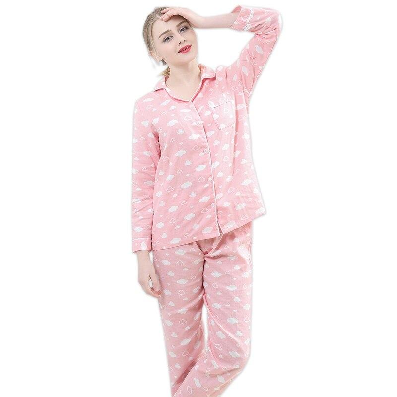 Kawaii pink cloud print pijamas for women pajamas sets 100% gauze cotton cozy long sleeve 2 piece pyjamas mujer fresh sleepwear-in Pajama Sets from Underwear & Sleepwears