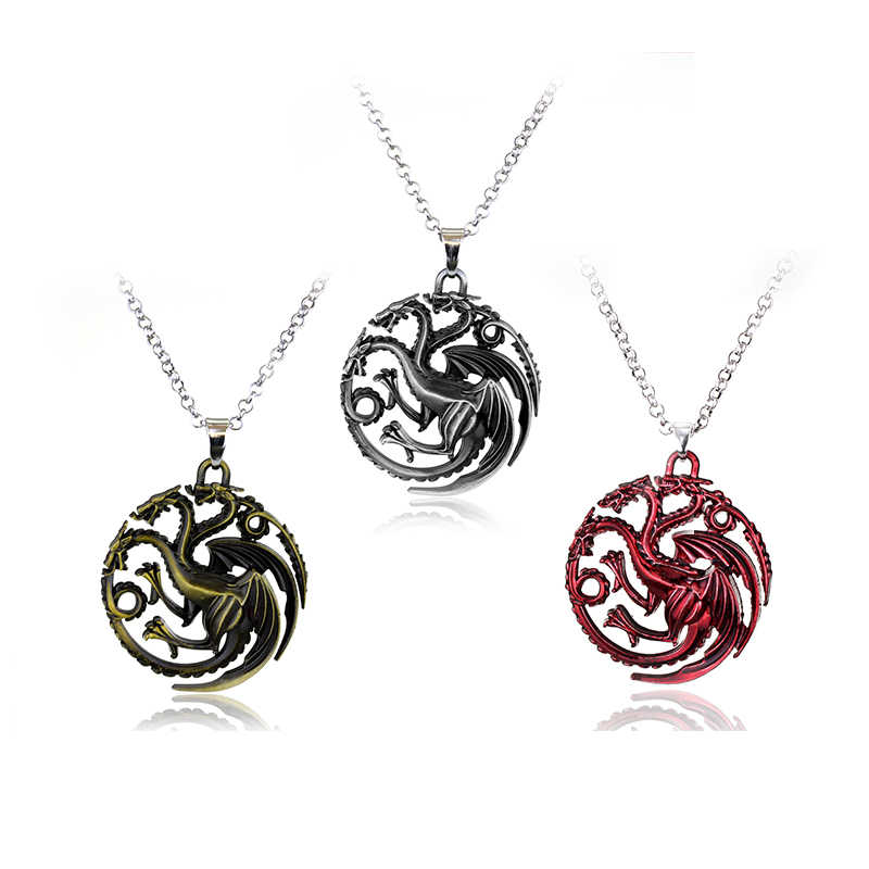 Hot TV Series Game Of Thrones Pendant Necklace House Stark Targaryen Lannister Baratheon Logo Metal Statement Jewelry Gift