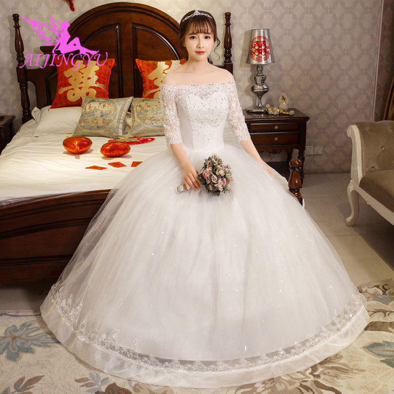 AIJINGYU 2018 sexy free shipping new hot selling cheap ball gown lace up back formal bride dresses wedding dress WK599