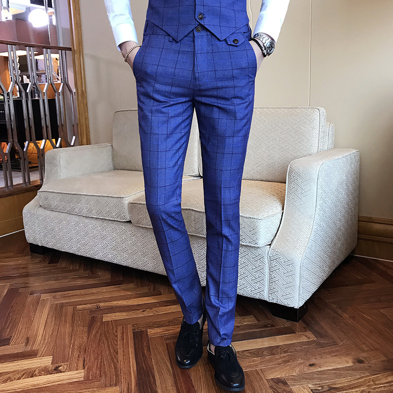 Classic Brand Mens Suit Pants High end Business Wedding Groom Dress Suits Trousers Men Black Gray Navy Blue pant