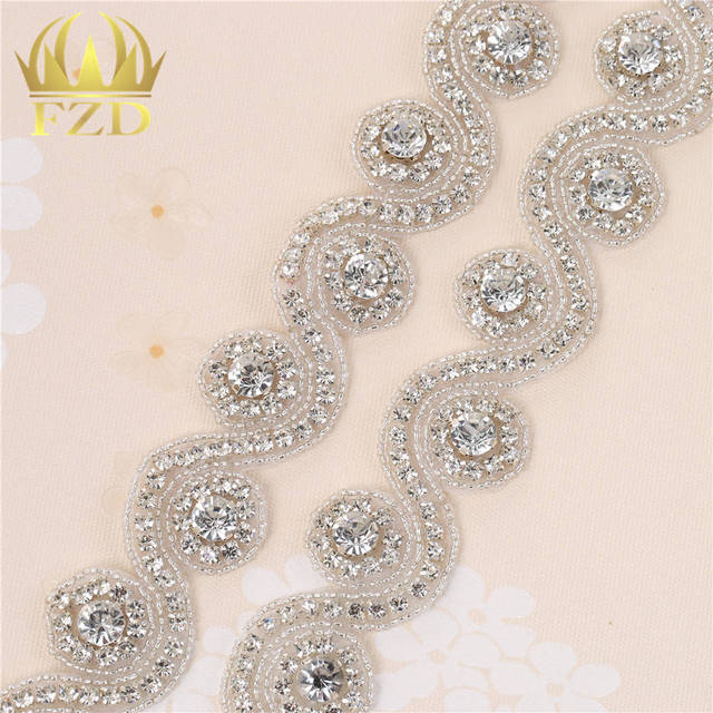 Handmade 1 Yard Iron On Crystal Beaded Sewing Bridal Sash Wedding Dresses  Rhinestone Applique and Trimming 2e905460bef1