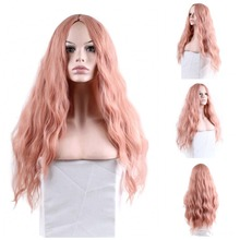 JOY&BEAUTY 28 inch Long Wavy Pink Wigs Wave Synthetic Wig fo