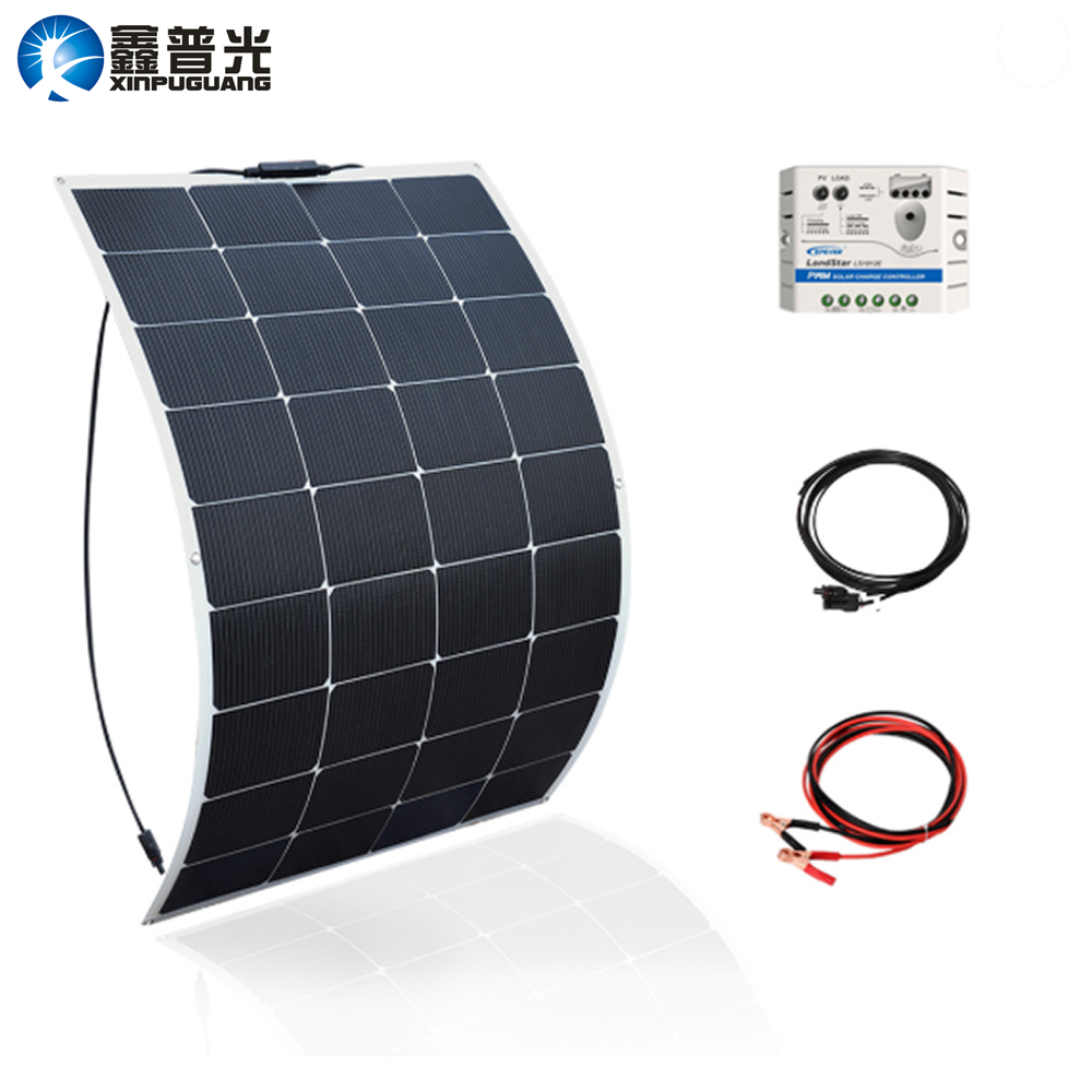 Xinpuguang Solar Panel Battery System 115W 18V 100W Flexible New Efficient Solar Cell for 12V DIY RV Car Marine Boat Home Charge