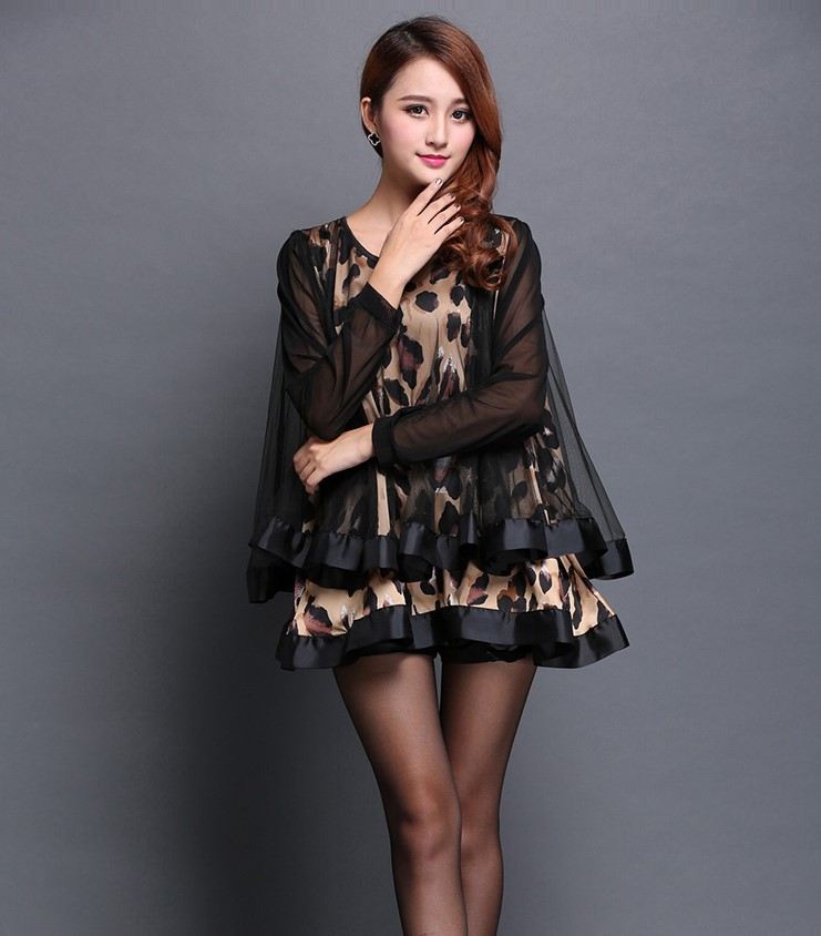 2017 NEW design women s leopard sexy top blouses girls autumn spring fashion print chiffon shirts