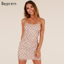 Beyprern Sexy Spaghetti Strap Plaid Sequins Bodycon Party Dresses 2018  Womens Summer Skater Mini Dress Sheath a86e75236990