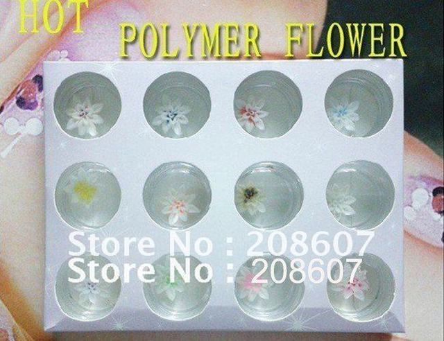 Freeshipping Nail Art Sticker Decoration 3D three-dimensional crystal nail clay flower box carved jewelry New Arrivals Product