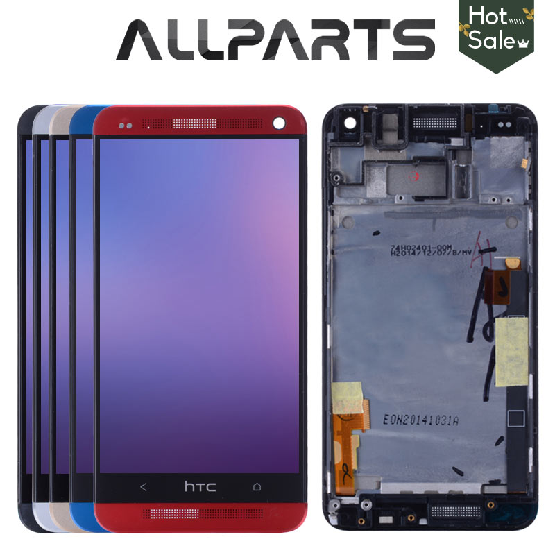 ORIGINAL 801e Single SIM 4.7 for HTC One M7 LCD Display Touch Screen Digitizer Assembly with Frame For HTC One M7 Display