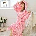 2015 Autumn And Winter Coral Fleece Polka Dot Printing 6 Colors Night Gown Spa Bathrobe Lady Long Sleeve flounced Hooded Pyjamas