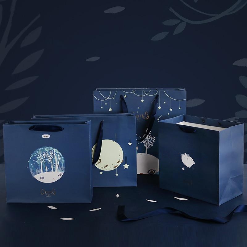1pc Luna starlight gift bags Paper shopping bag Simple packing bag Fashion handbag packing supplies