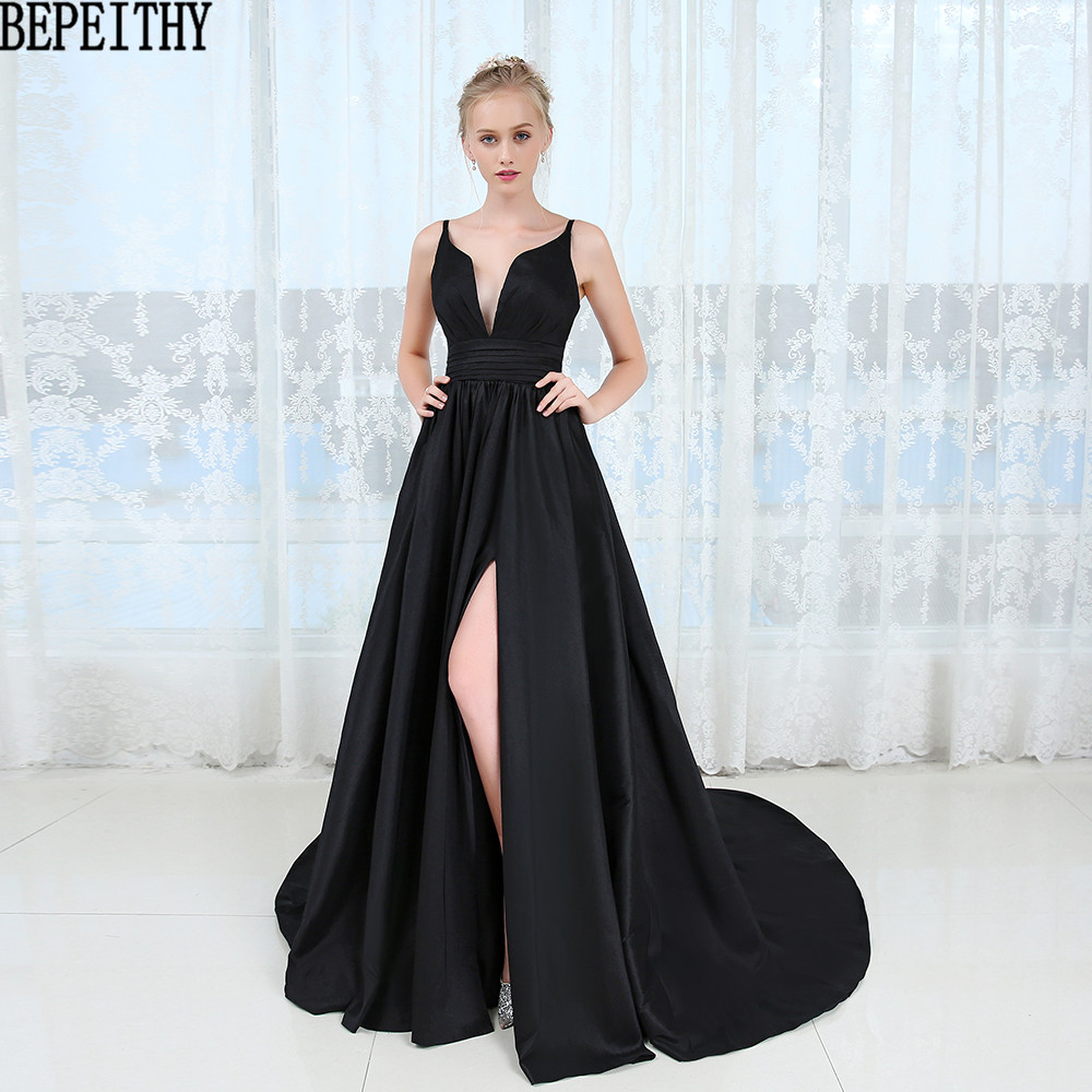 BEPEITHY Vestido Longo Fashion Black Slit Prom   Dresses   V-neck Sexy Vestido De Festa Custom Made   Evening     Dress   2019
