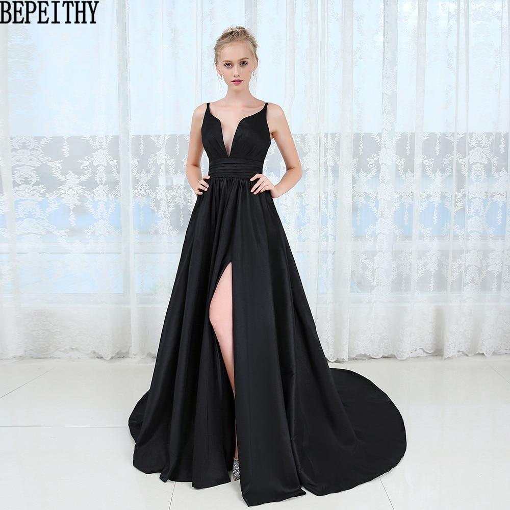 BEPEITHY Vestido Longo mode noir fente robes De bal col en v Sexy robe De soirée sur mesure robe 2019