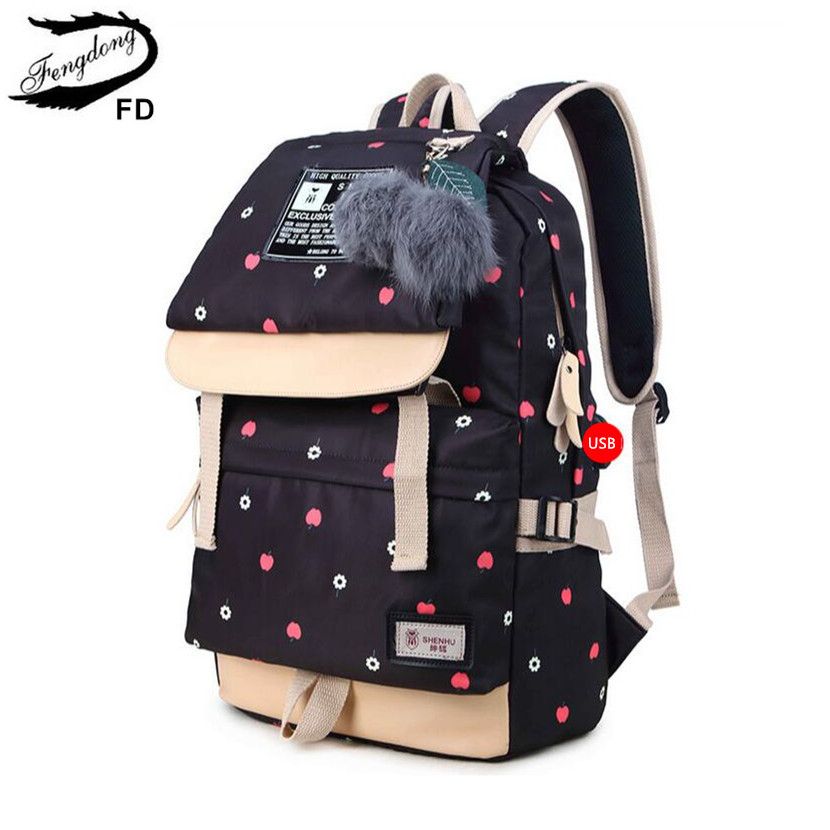 FengDong ball decoration school bags for girls kids black canvas backpack children backpacks usb bag cute