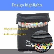 Finecolour EF101 แอลกอฮอล์ Art Sketch Twin Marker แปรงเครื่องหมายปลอดสารพิษสำหรับอุปกรณ์สำหรับโรงเรียน 24/36 /48/72 สีในกระเป๋า