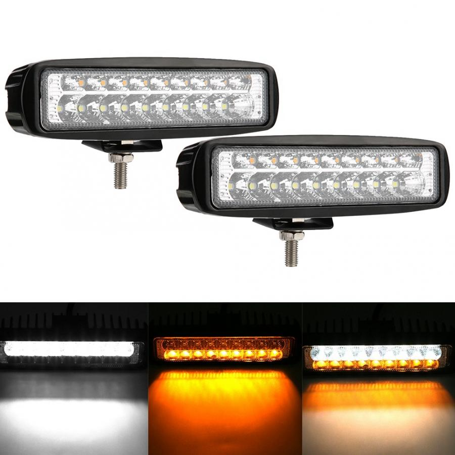 2 pièces 6 inch 18 W 9-32 V double couleur LED barre de lumière de travail conduite antibrouillard lampe pour voiture camion ATV UTV SUV bateau LED barre de lumière de travail