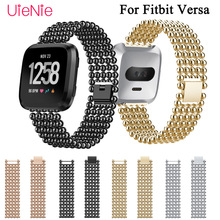 Frontier classic Stainless steel  wrist band replacement strap for Fitbit Versa smart watch bracelet watchband accessories frontier classic watch strap for fitbit versa band replacement metal with rhinestone wristbands accessories steel strip