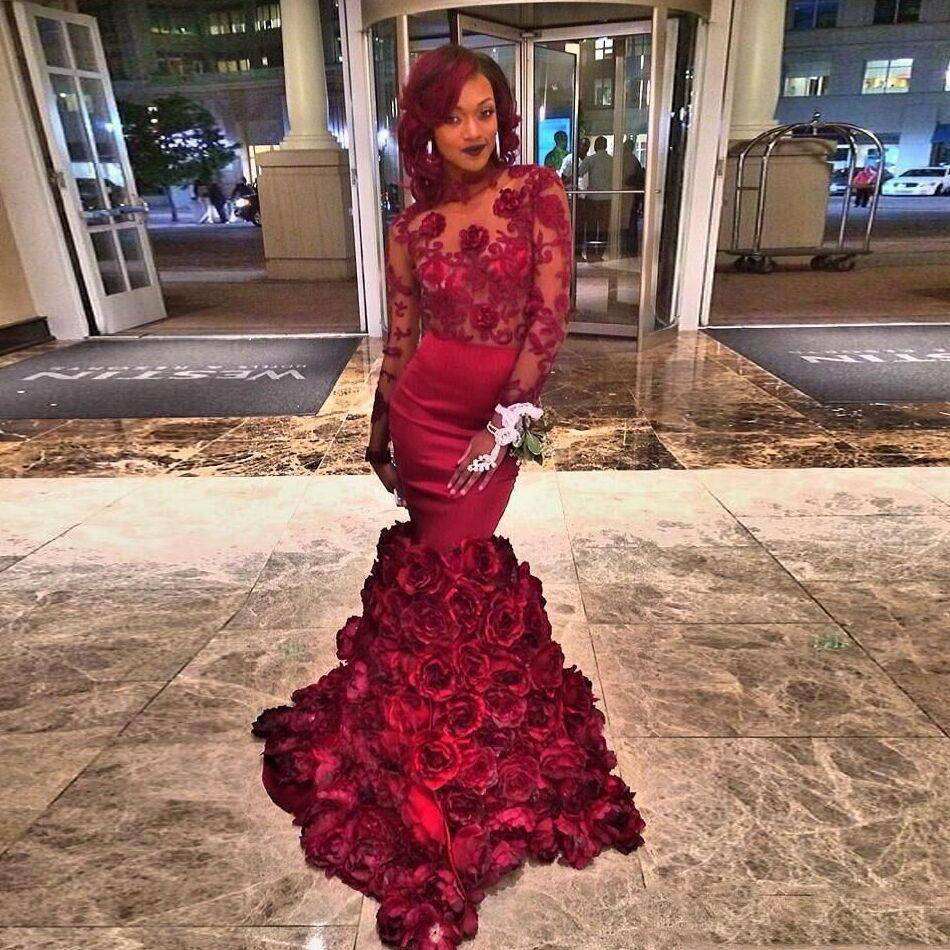 Popular Burgundy Mermaid Rose Prom Dress-Buy Cheap Burgundy ...