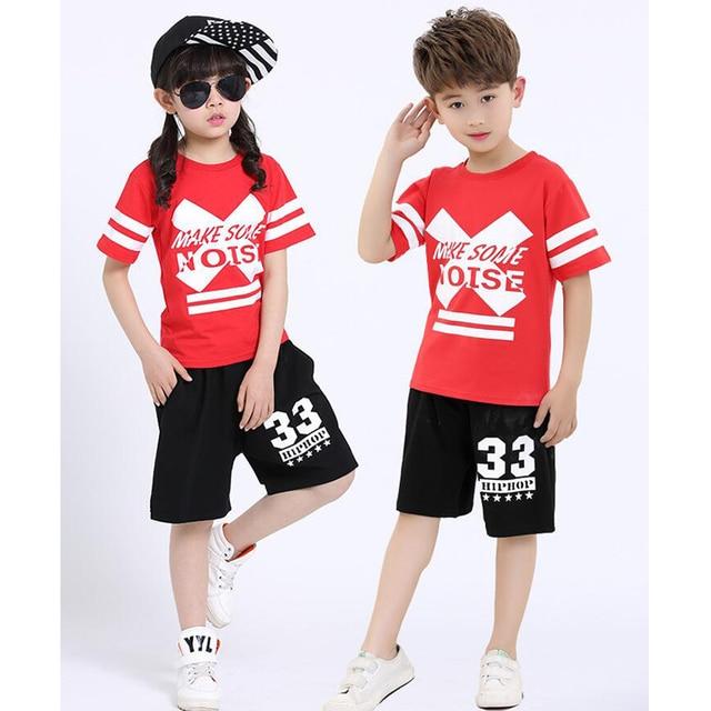 09b990242b4f Kids Black Red Modern Jazz Dancing Outfits Boys Girls Hip Hop ...