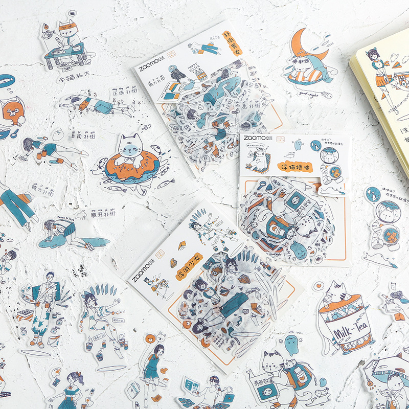Floating Girl Series Bullet Journal Decorative Stickers Scrapbooking Stick Label Diary Stationery Album Cute Cat Stickers