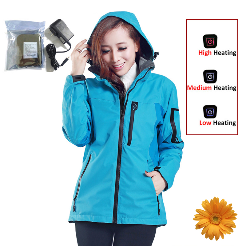 Women Jackets 7.4V Electric Heated Winter Outdoor Skiing Hiking Waterproof Windproof Jacket Fishing Tourism Mountain Sports Coat все цены